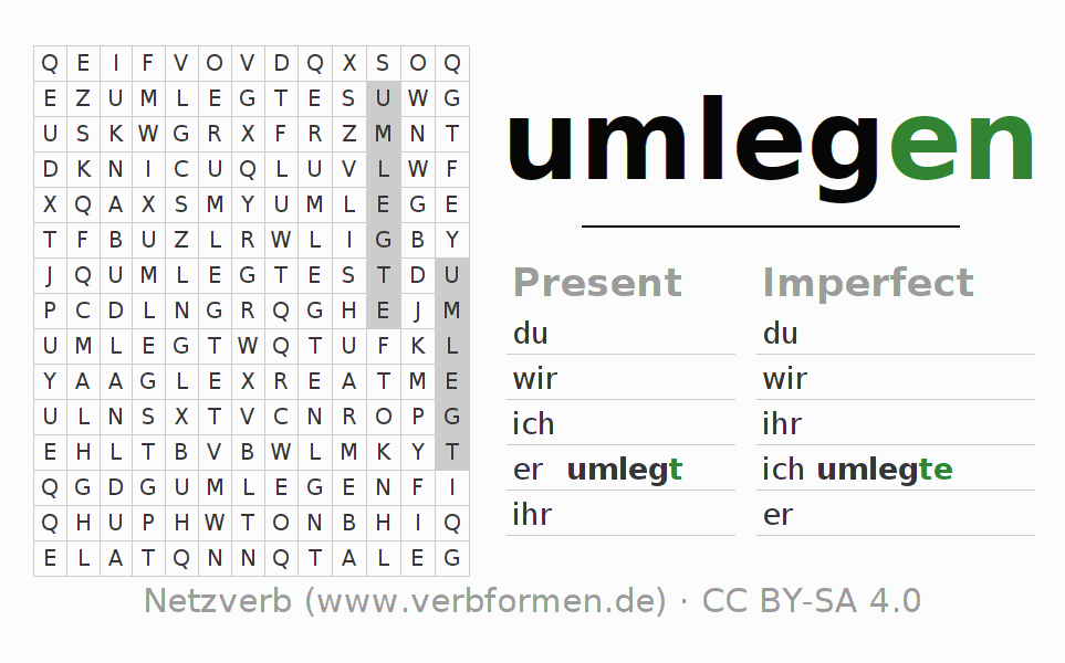 Word search puzzle for the conjugation of the verb umlegen