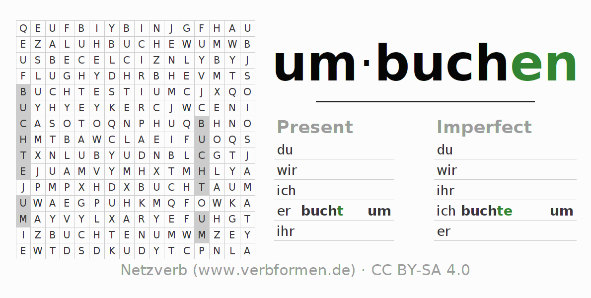 Word search puzzle for the conjugation of the verb umbuchen