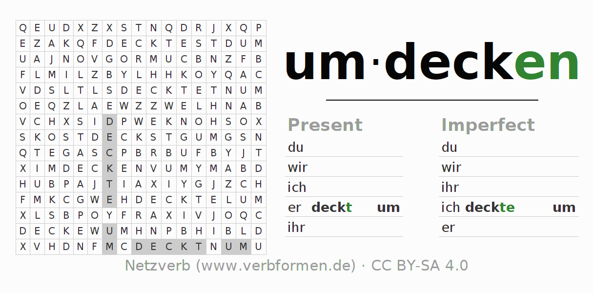 Word search puzzle for the conjugation of the verb umdecken