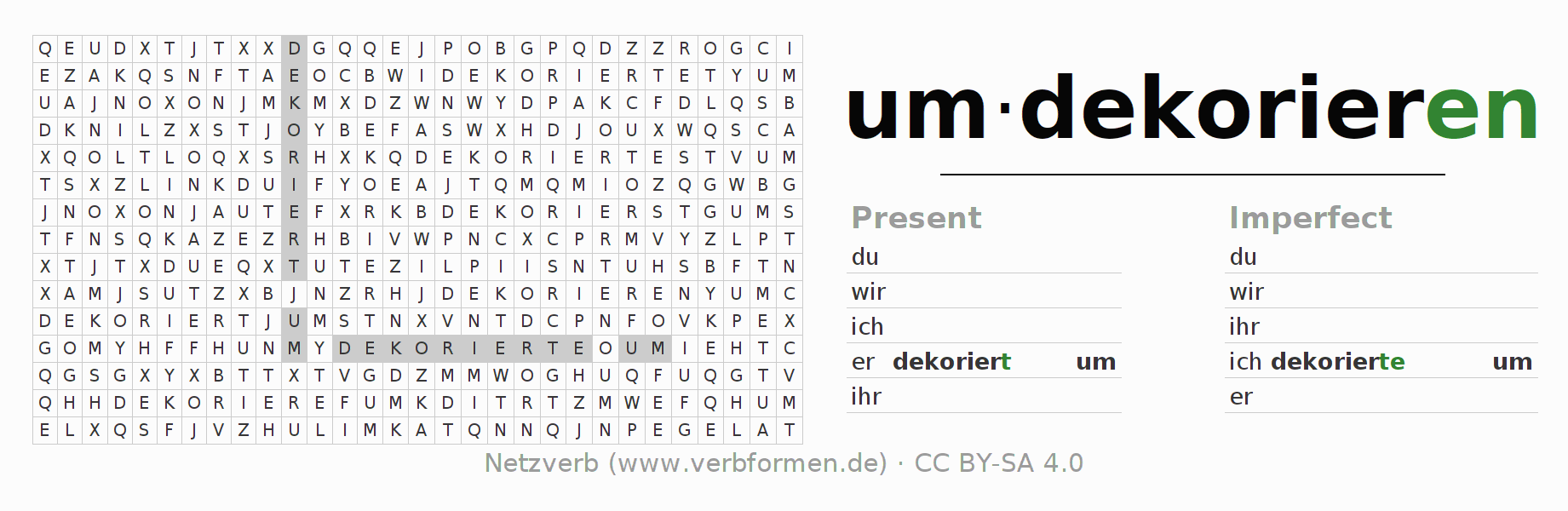 Word search puzzle for the conjugation of the verb umdekorieren