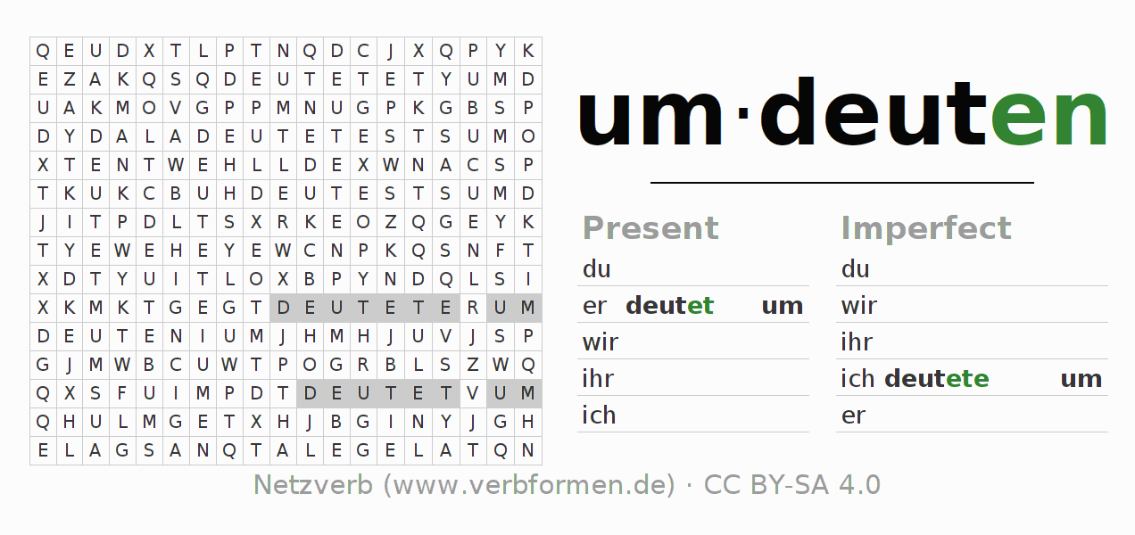 Word search puzzle for the conjugation of the verb umdeuten