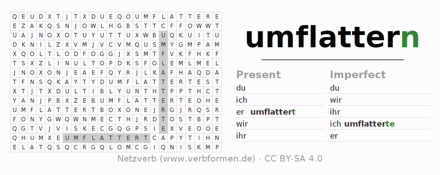 Word search puzzle for the conjugation of the verb umflattern