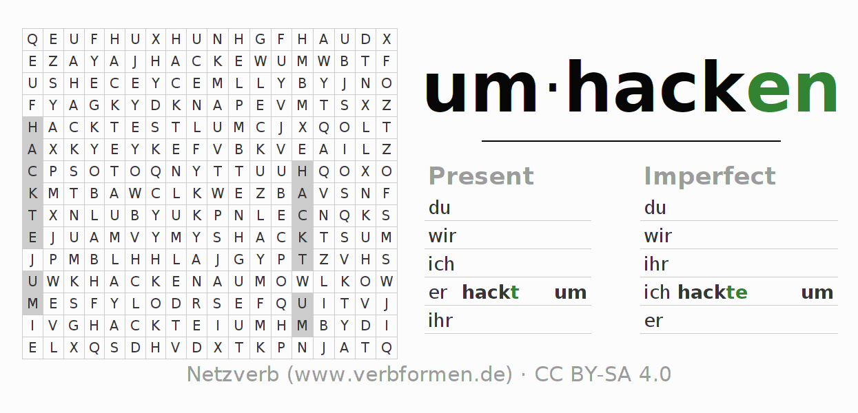 Word search puzzle for the conjugation of the verb umhacken