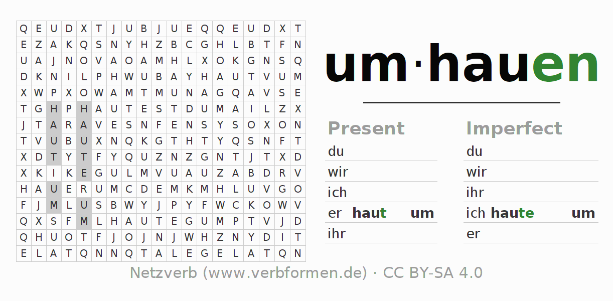 Word search puzzle for the conjugation of the verb umhauen (regelm)