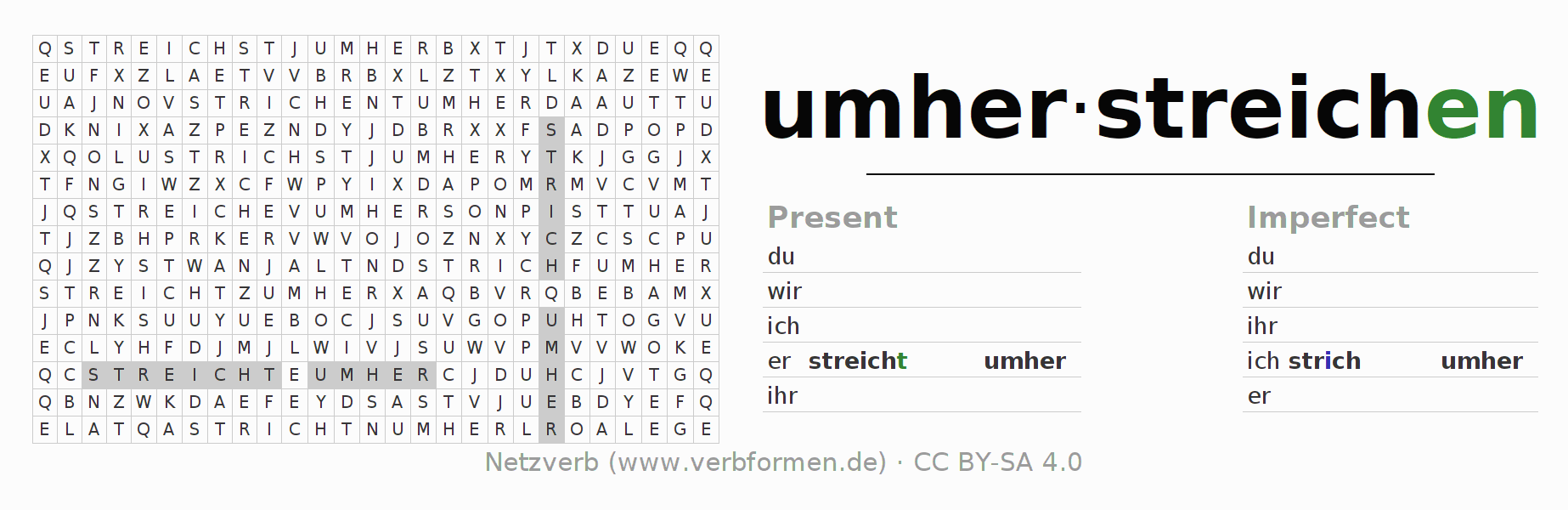 Word search puzzle for the conjugation of the verb umherstreichen
