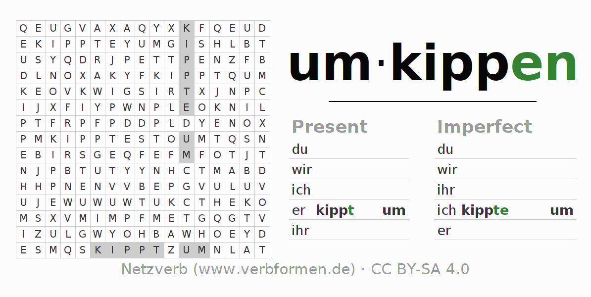 Word search puzzle for the conjugation of the verb umkippen (hat)