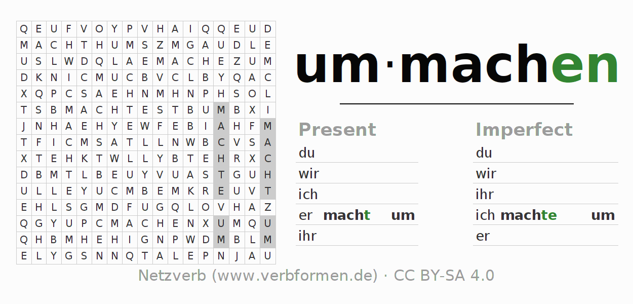 Word search puzzle for the conjugation of the verb ummachen