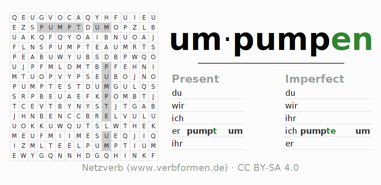 Word search puzzle for the conjugation of the verb umpumpen
