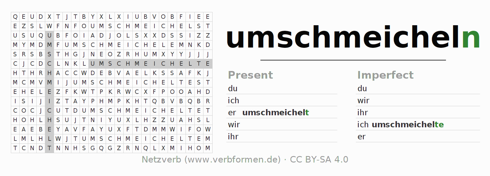 Word search puzzle for the conjugation of the verb umschmeicheln