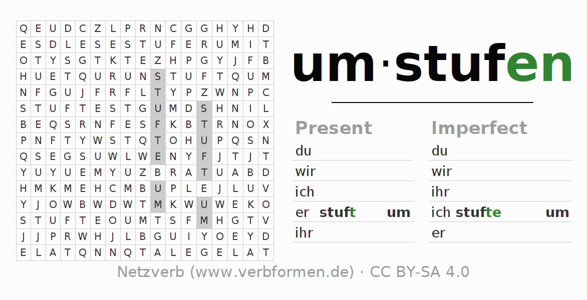 Word search puzzle for the conjugation of the verb umstufen