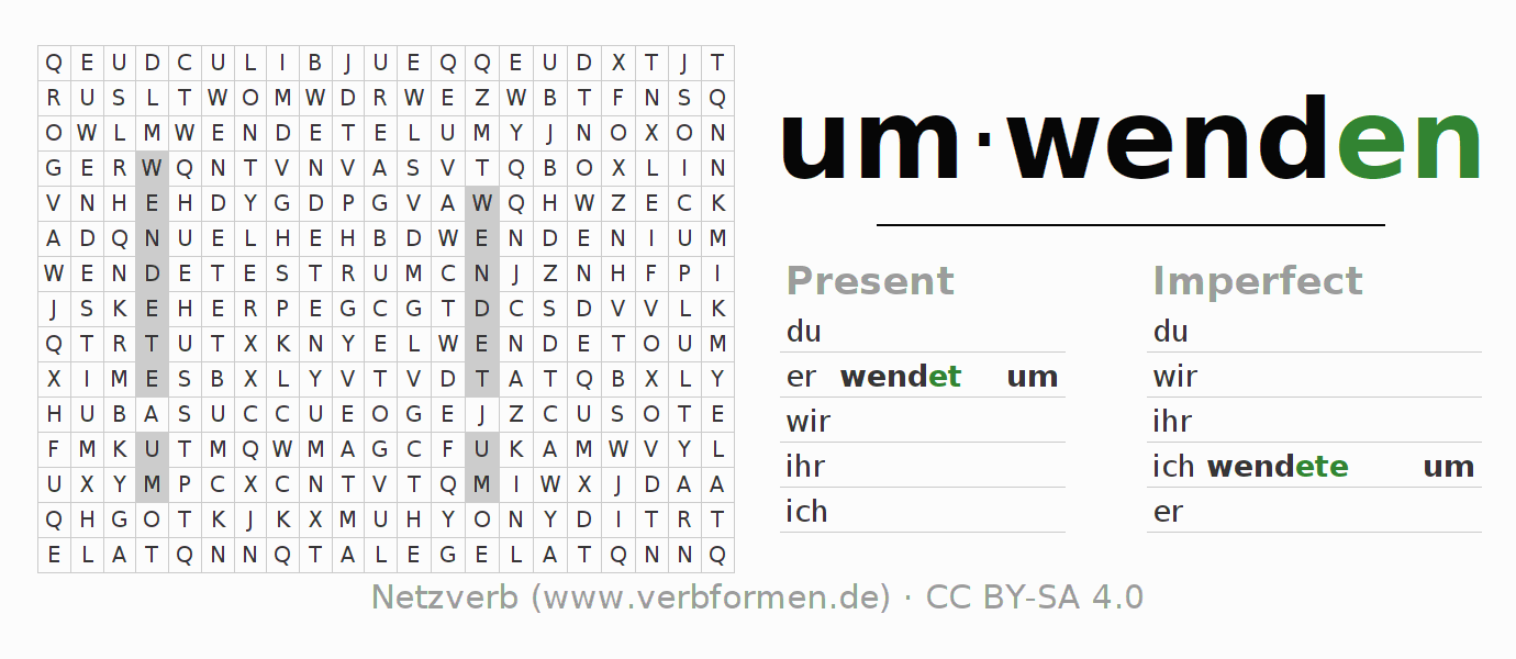 Word search puzzle for the conjugation of the verb umwenden (regelm)