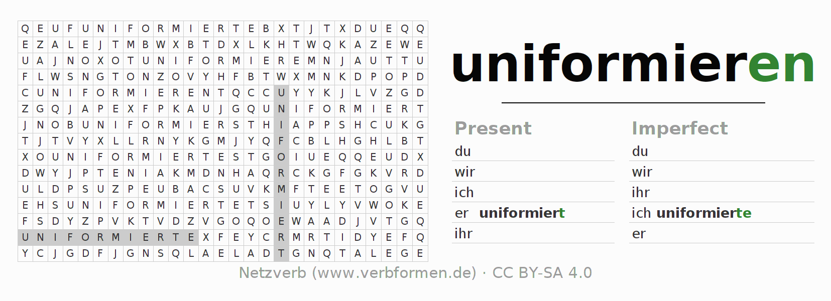 Word search puzzle for the conjugation of the verb uniformieren