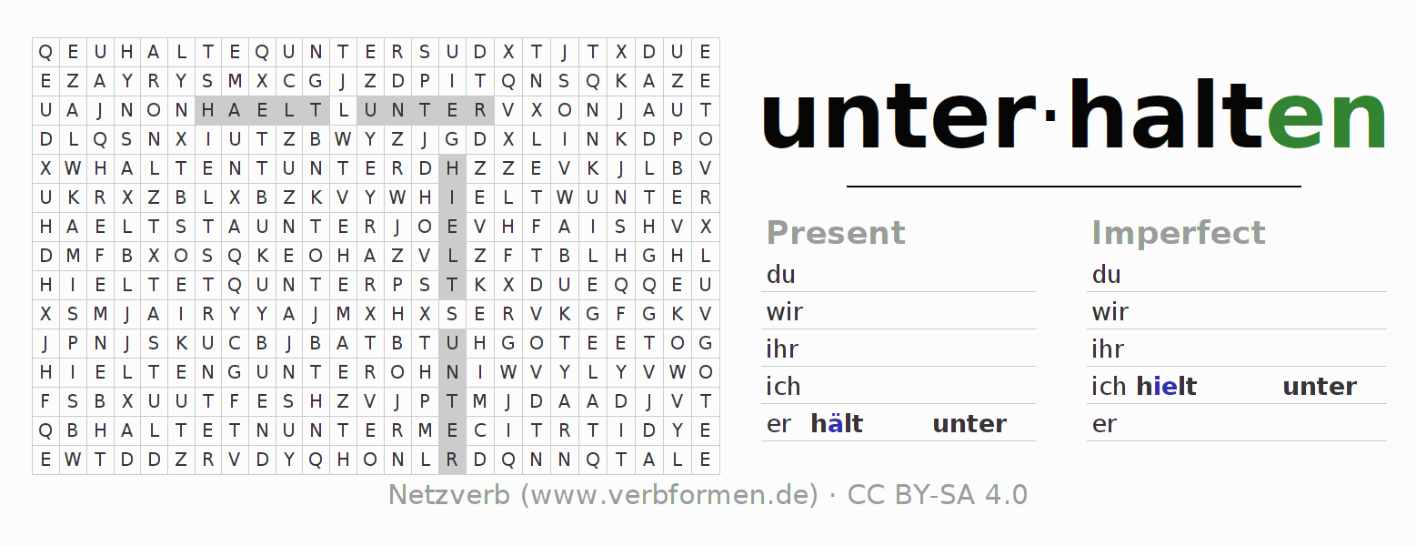 Word search puzzle for the conjugation of the verb unter-halten