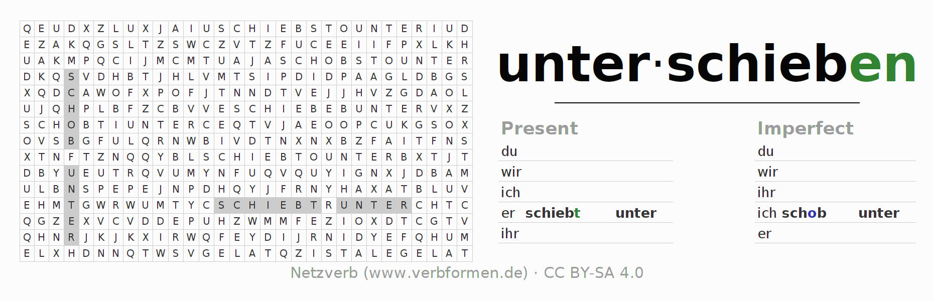 Word search puzzle for the conjugation of the verb unter-schieben