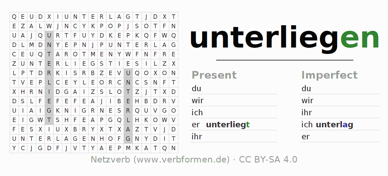 Word search puzzle for the conjugation of the verb unterliegen (hat)