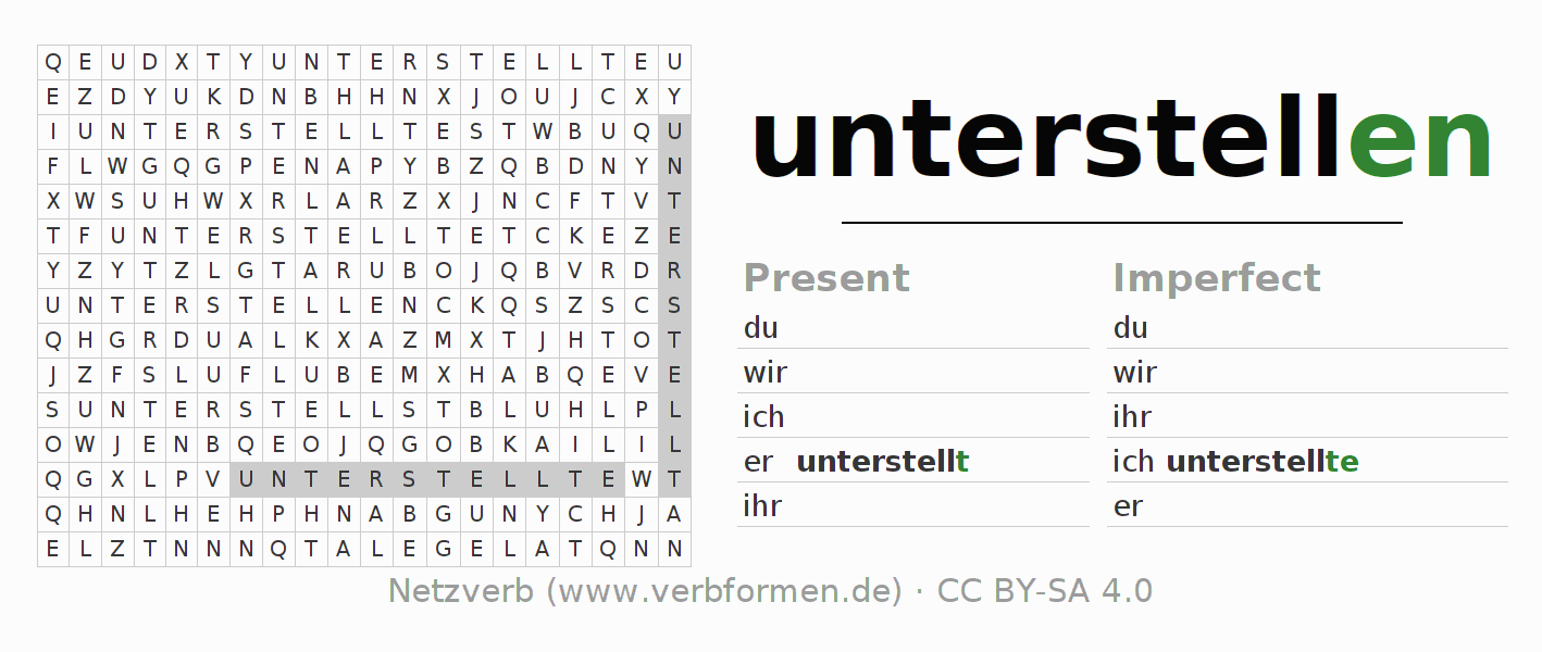 Word search puzzle for the conjugation of the verb unterstellen