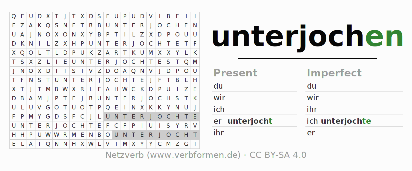 Word search puzzle for the conjugation of the verb unterjochen