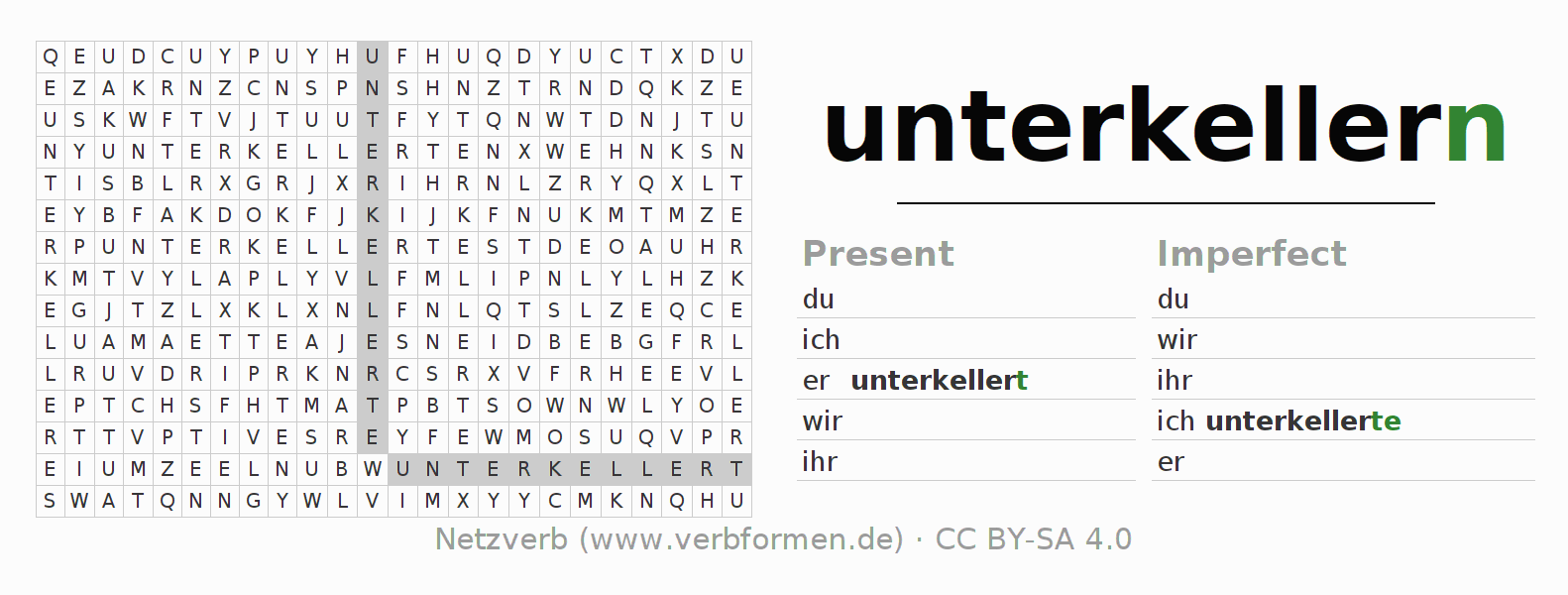 Word search puzzle for the conjugation of the verb unterkellern