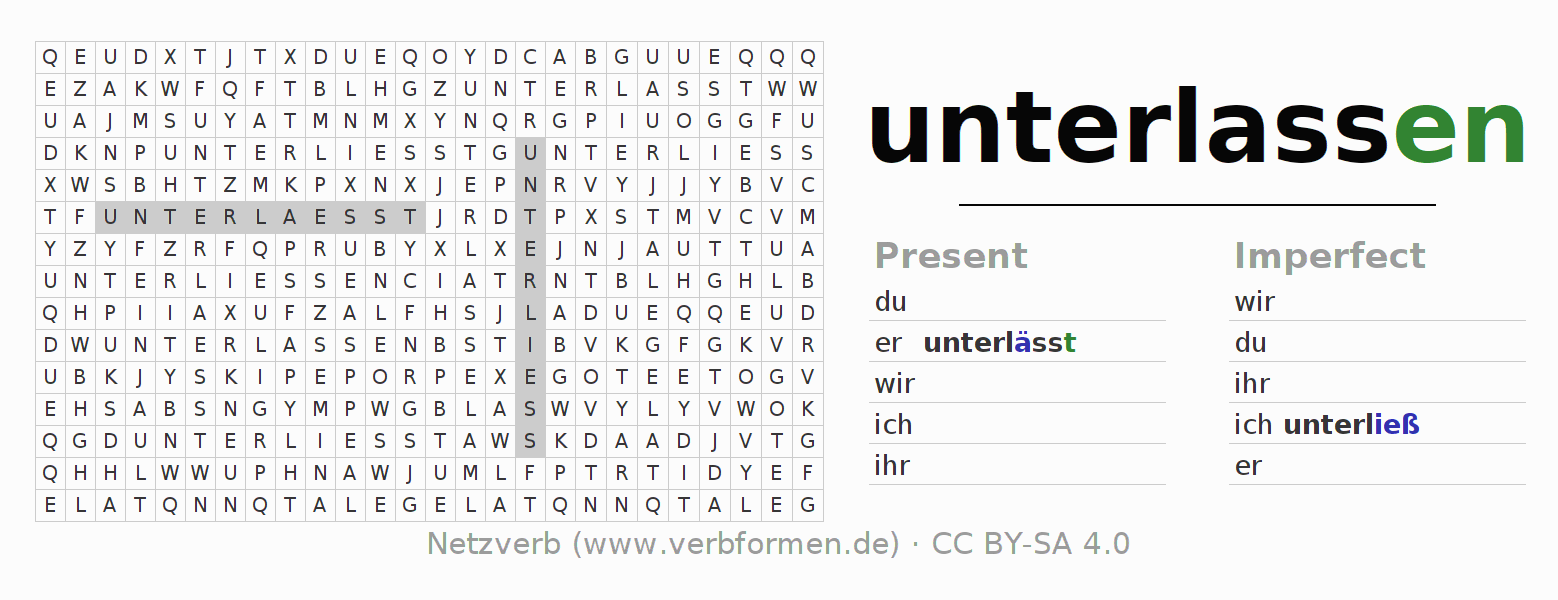 Word search puzzle for the conjugation of the verb unterlassen