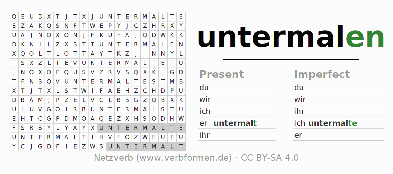 Word search puzzle for the conjugation of the verb untermalen