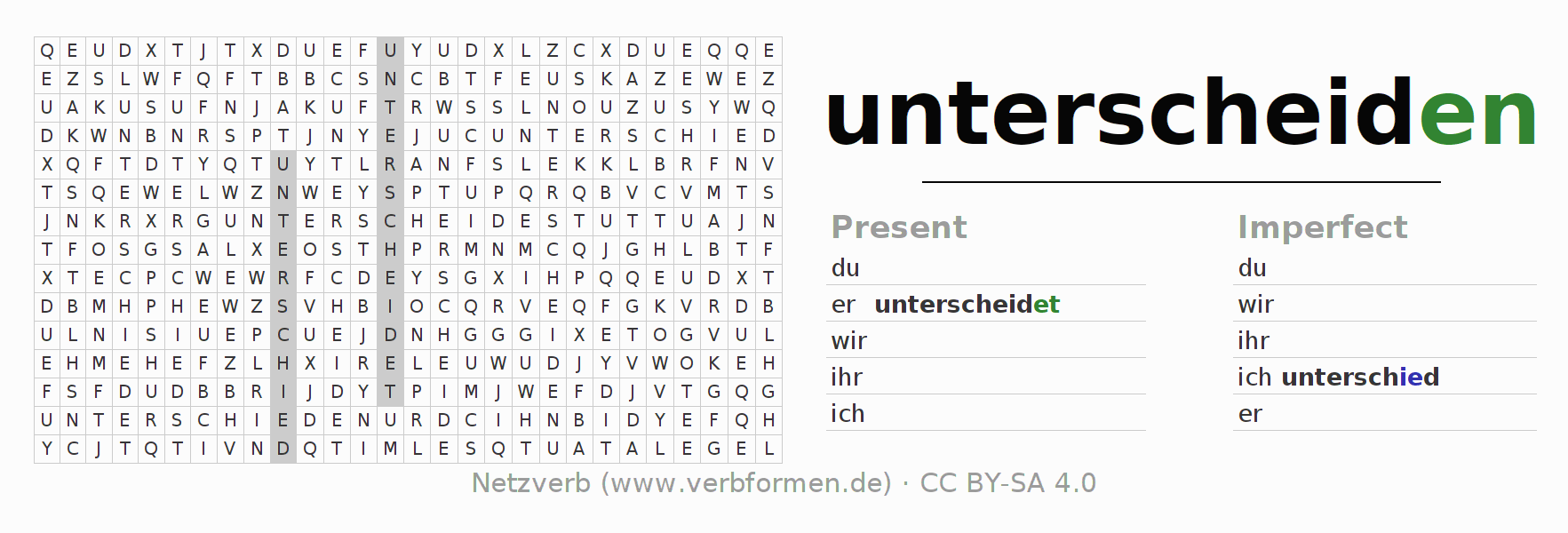 Word search puzzle for the conjugation of the verb unterscheiden