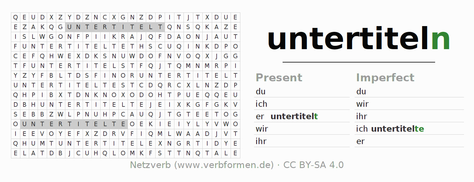Word search puzzle for the conjugation of the verb untertiteln