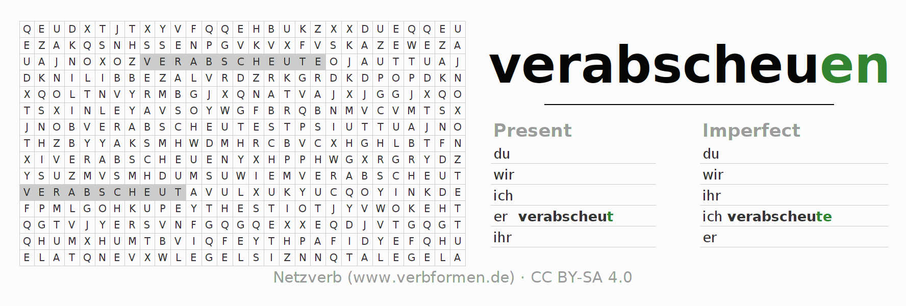 Word search puzzle for the conjugation of the verb verabscheuen