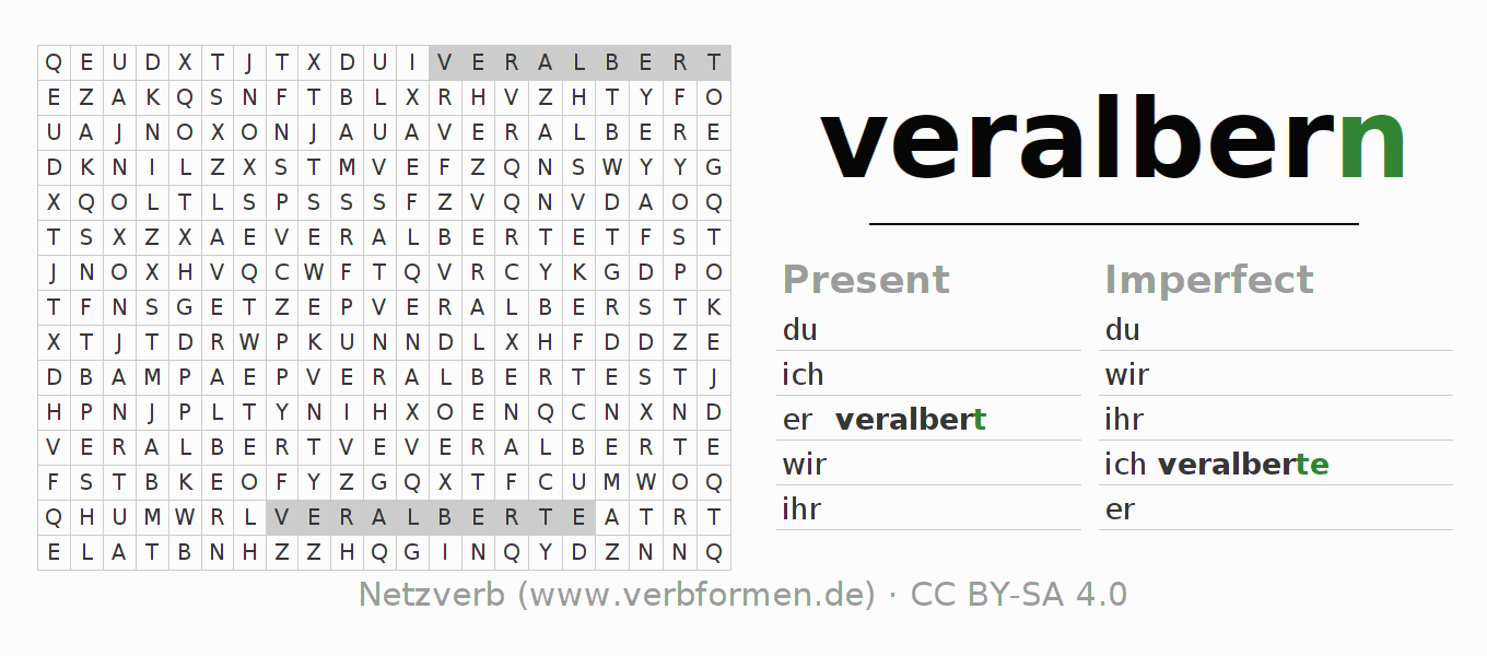 Word search puzzle for the conjugation of the verb veralbern
