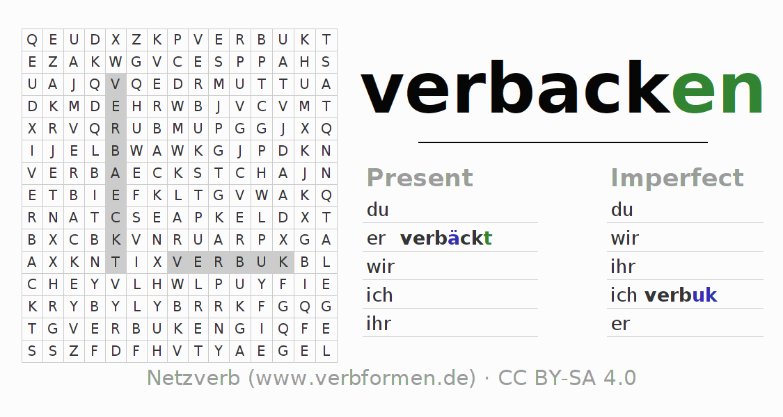 Word search puzzle for the conjugation of the verb verbacken (unr)