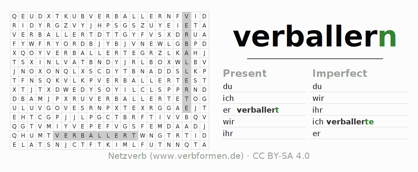 Word search puzzle for the conjugation of the verb verballern