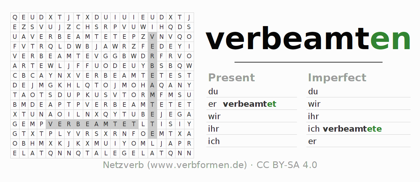 Word search puzzle for the conjugation of the verb verbeamten