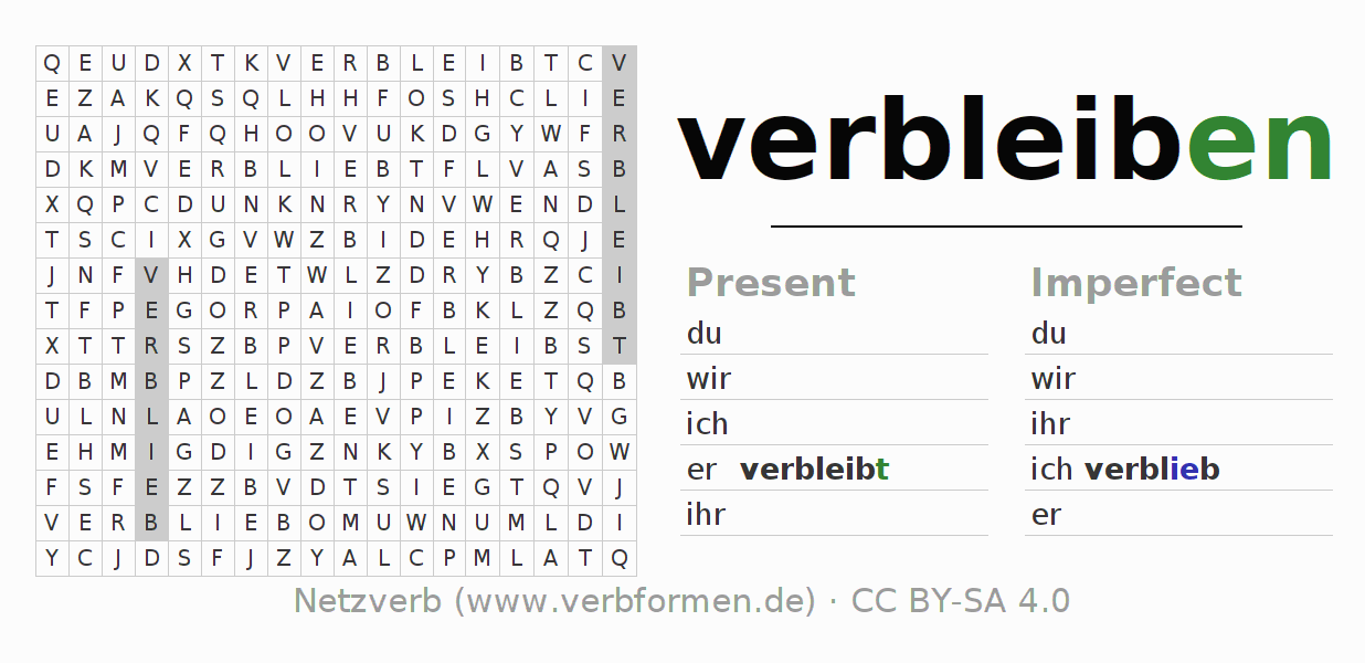 Word search puzzle for the conjugation of the verb verbleiben