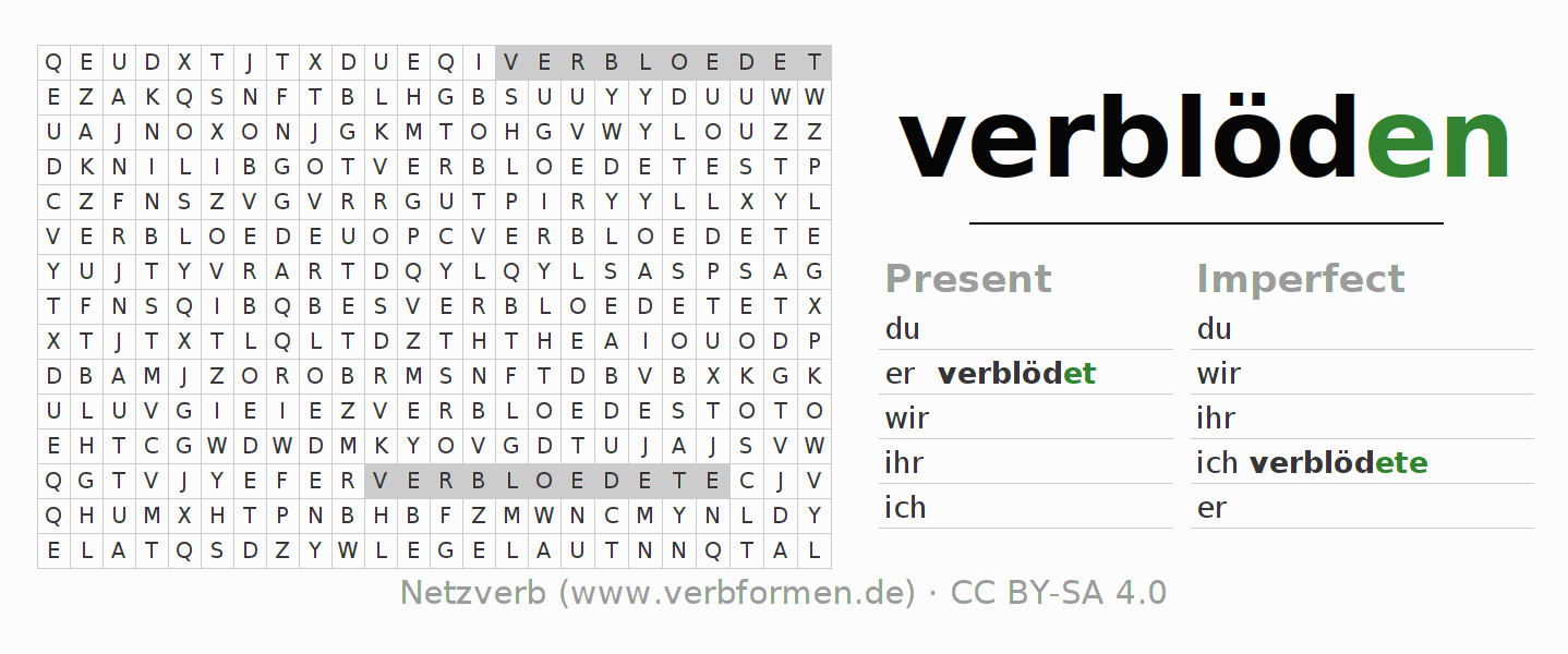 Word Search Verb Verbloden Puzzle For The Conjugation Of German Verbs Netzverb