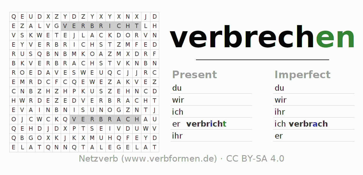 Word search puzzle for the conjugation of the verb verbrechen