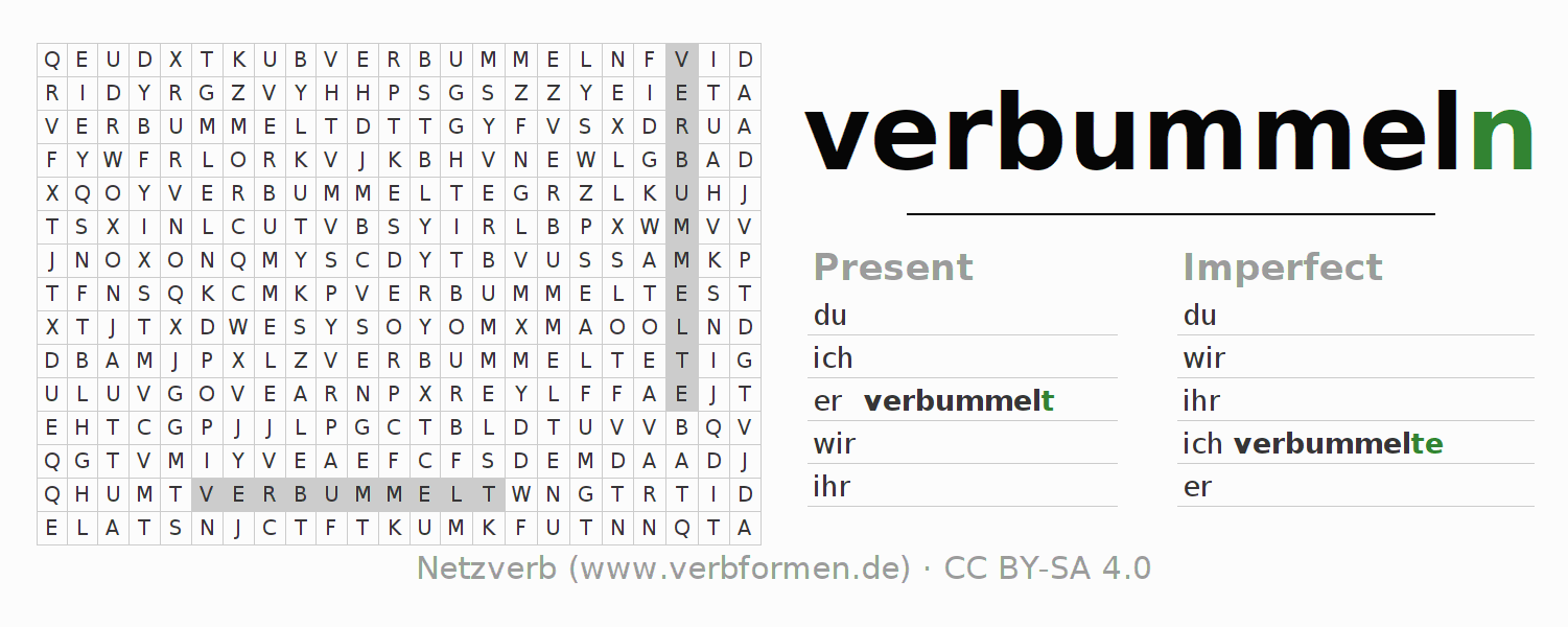 Word search puzzle for the conjugation of the verb verbummeln (ist)