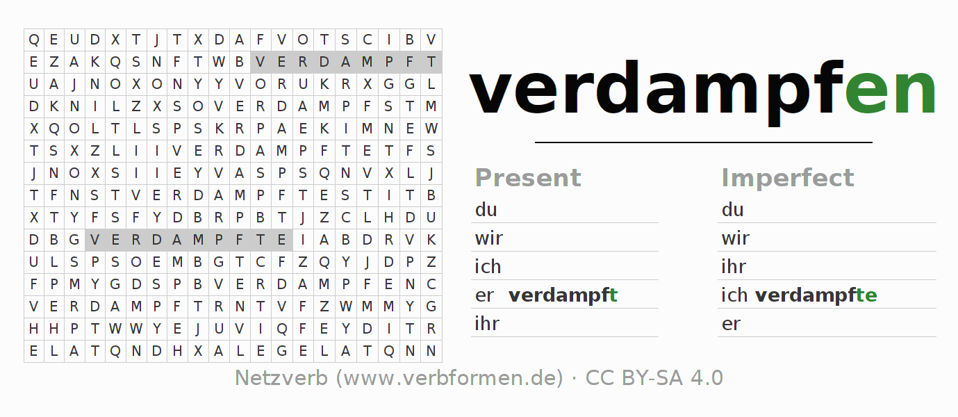 Word search puzzle for the conjugation of the verb verdampfen (ist)