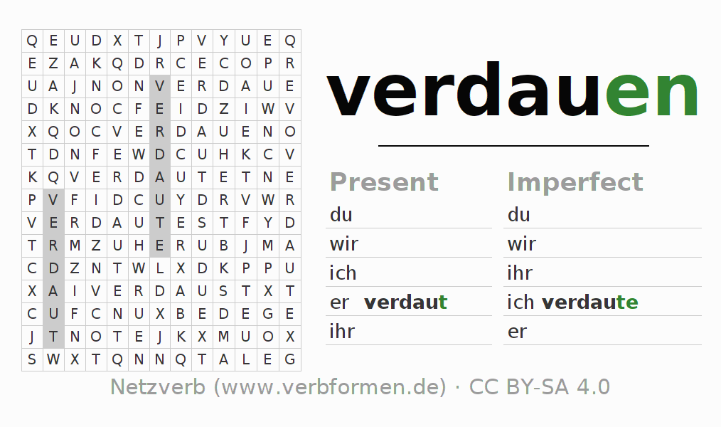 Word search puzzle for the conjugation of the verb verdauen