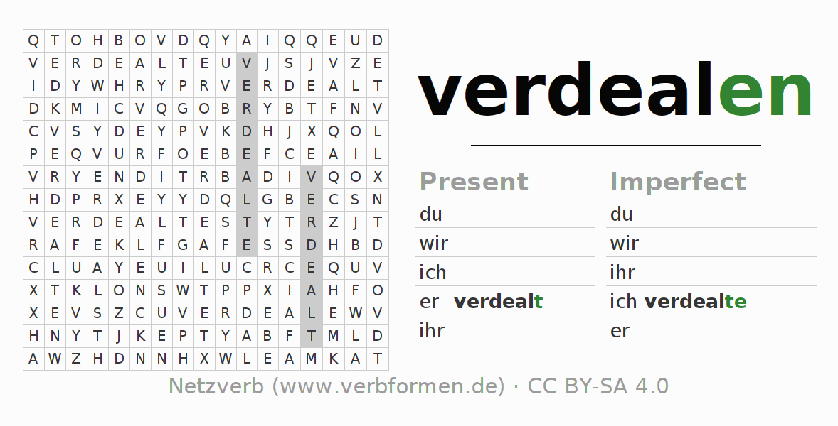 Word search puzzle for the conjugation of the verb verdealen