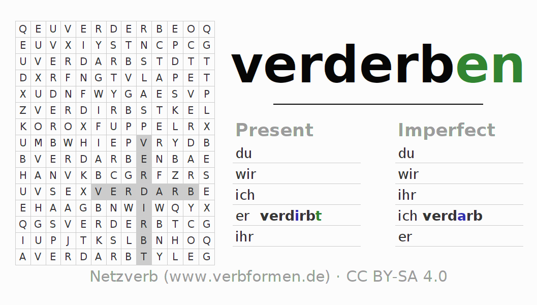 Word search puzzle for the conjugation of the verb verderben (ist)