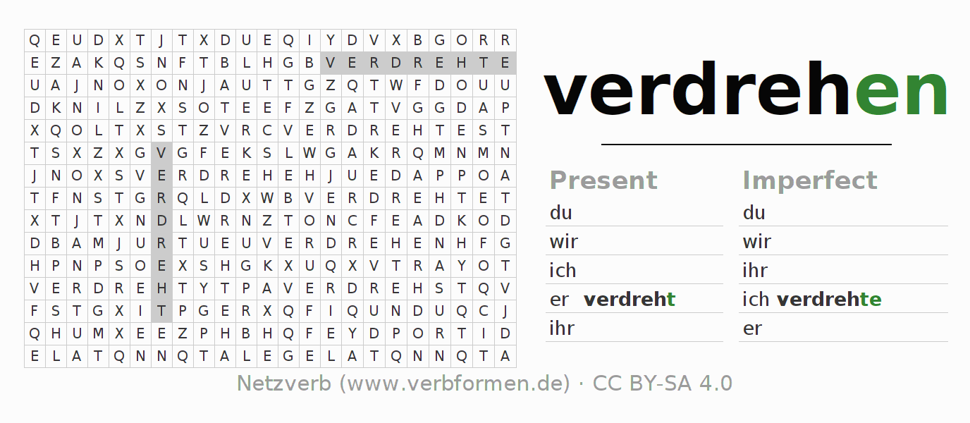 Word search puzzle for the conjugation of the verb verdrehen