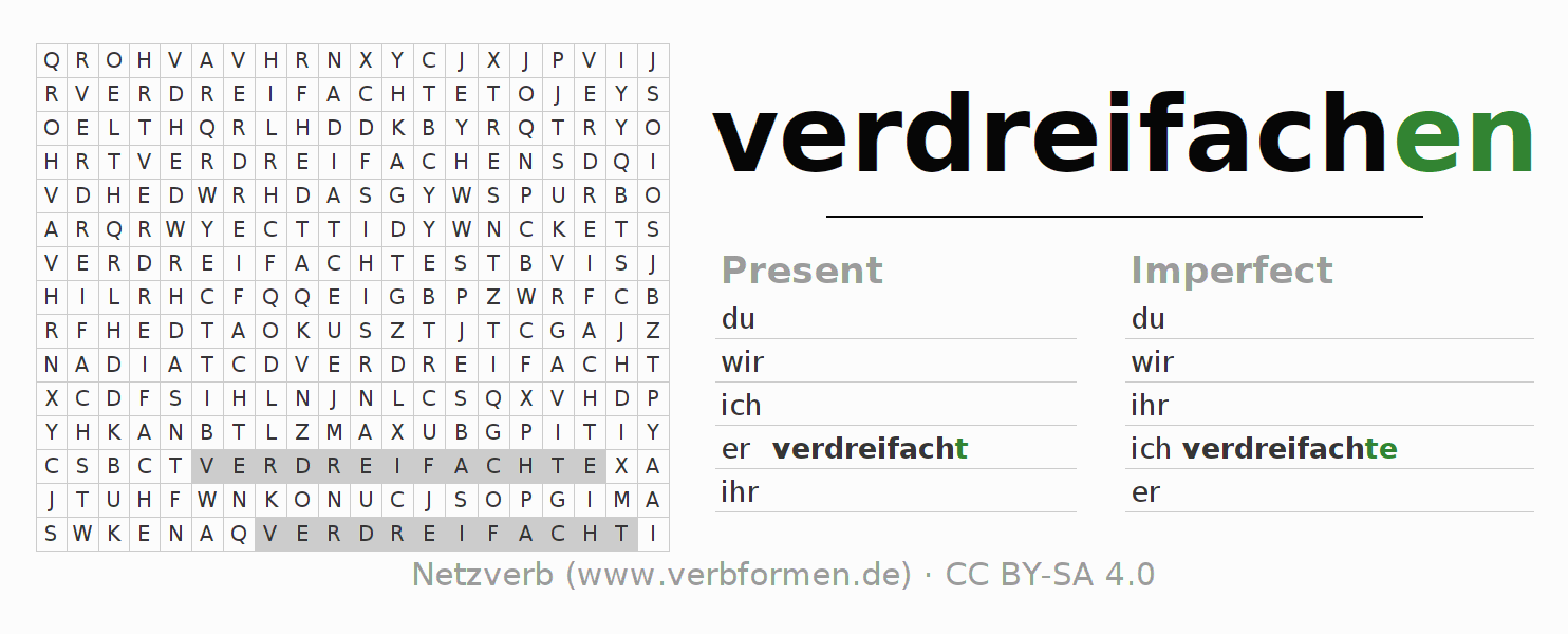 Word search puzzle for the conjugation of the verb verdreifachen