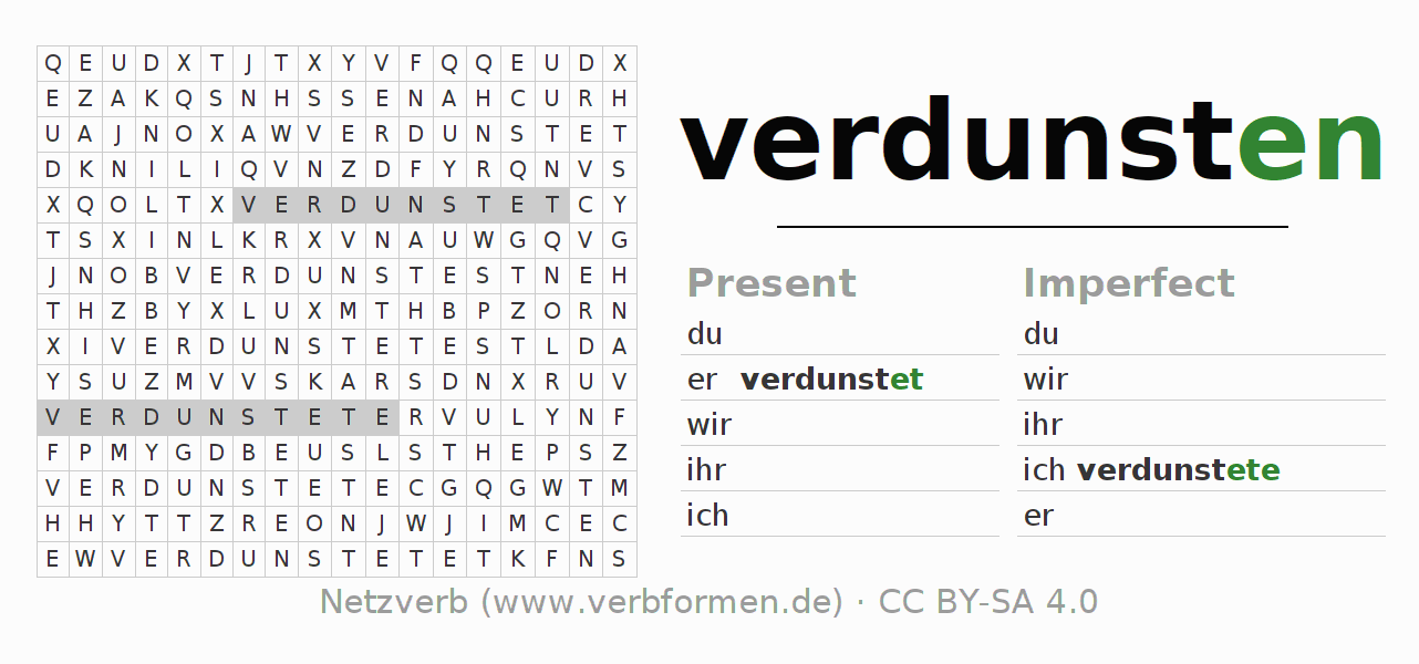 Word search puzzle for the conjugation of the verb verdunsten (hat)