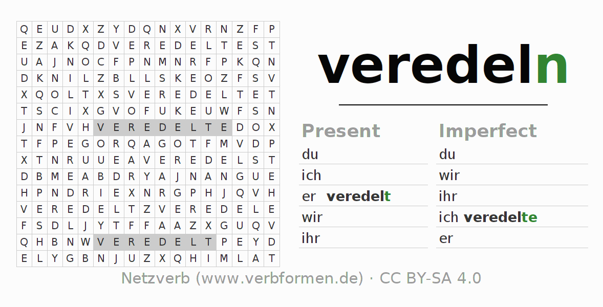 Word search puzzle for the conjugation of the verb veredeln