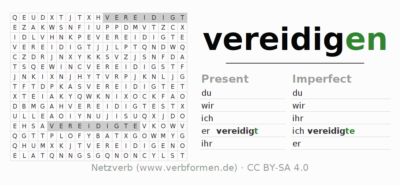 Word search puzzle for the conjugation of the verb vereidigen