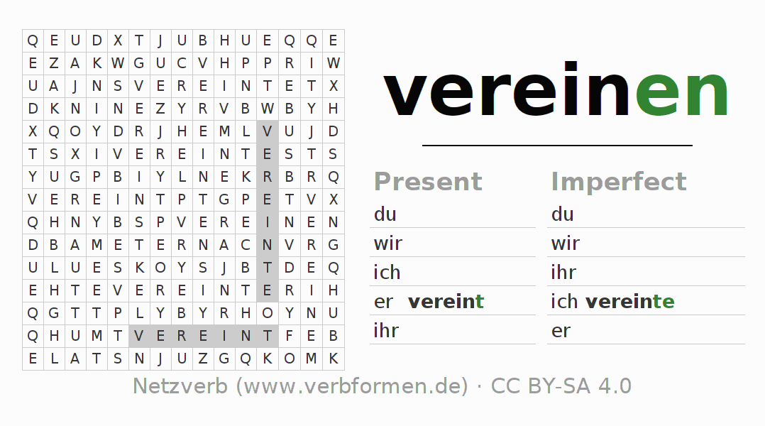 Word search puzzle for the conjugation of the verb vereinen