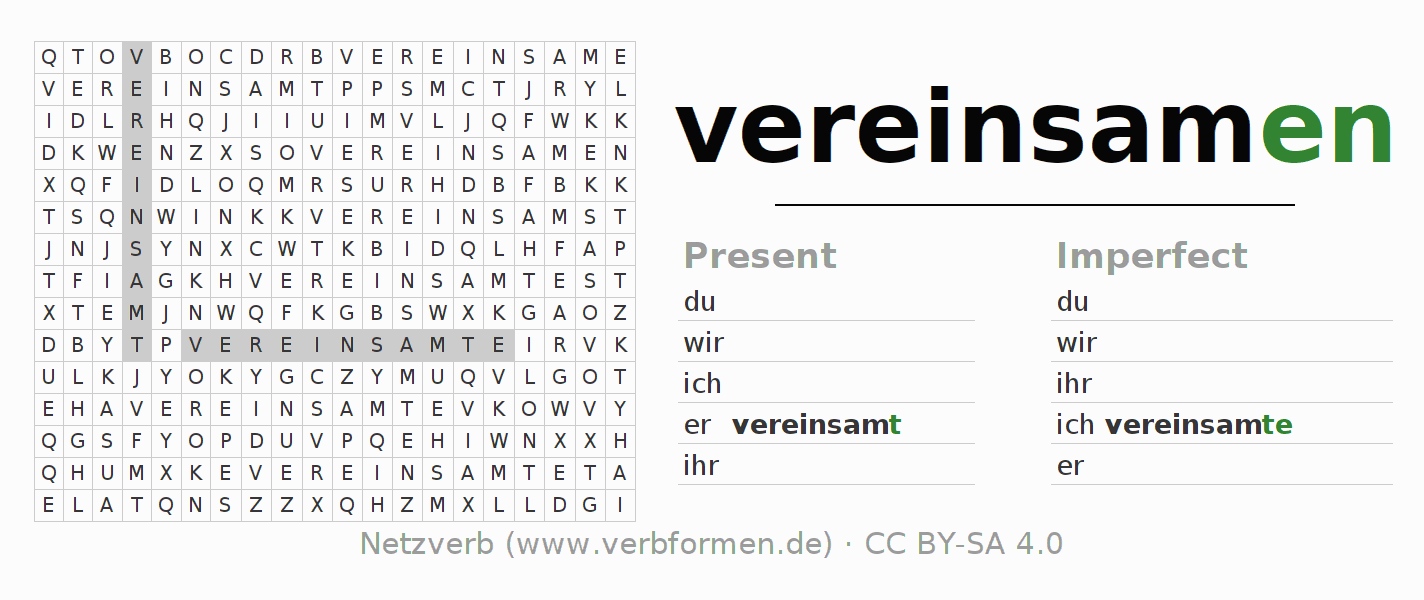 Word search puzzle for the conjugation of the verb vereinsamen (hat)