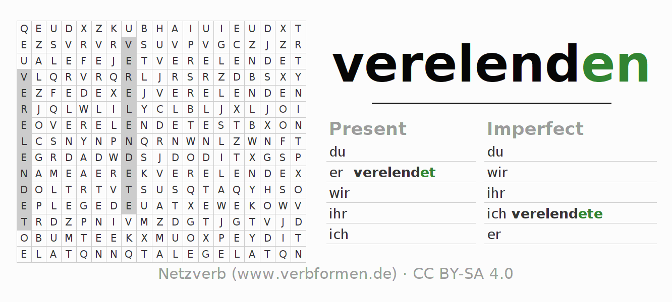 Word search puzzle for the conjugation of the verb verelenden