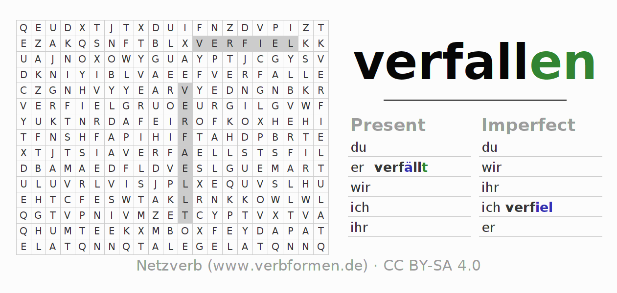 Word search puzzle for the conjugation of the verb verfallen