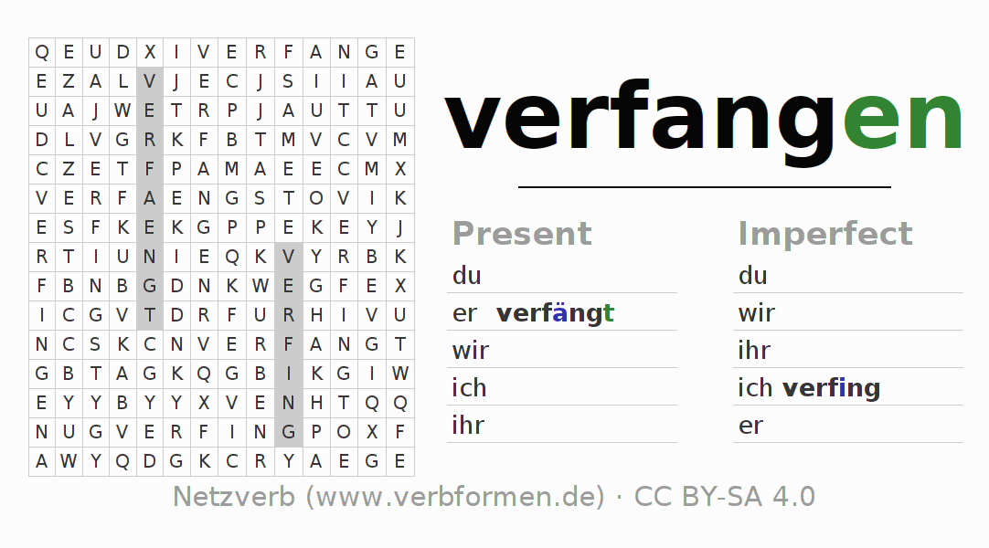 Word search puzzle for the conjugation of the verb verfangen