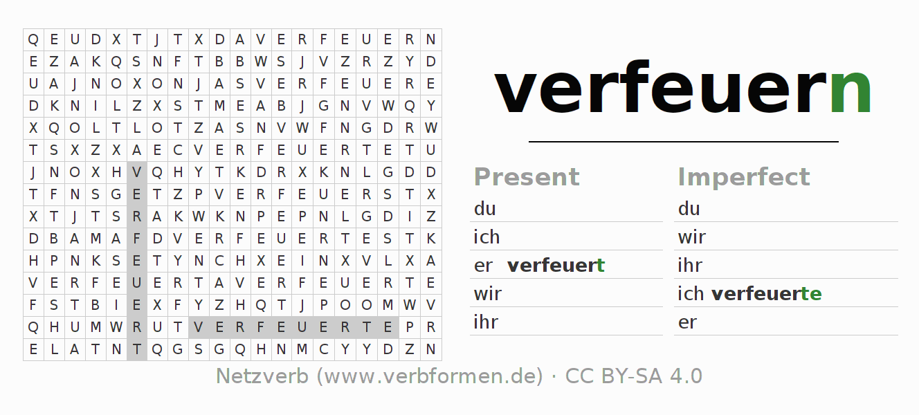 Word search puzzle for the conjugation of the verb verfeuern